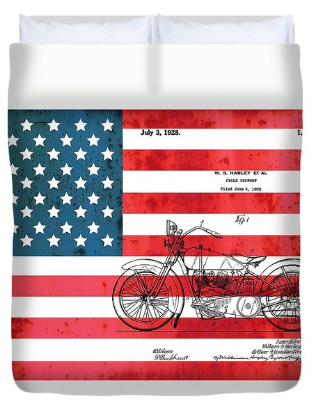 1928 Harley Patent American Flag Duvet Cover