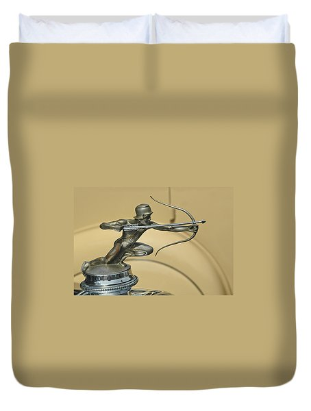 1928 Pierce Arrow Helmeted Archer Hood Ornament Duvet Cover