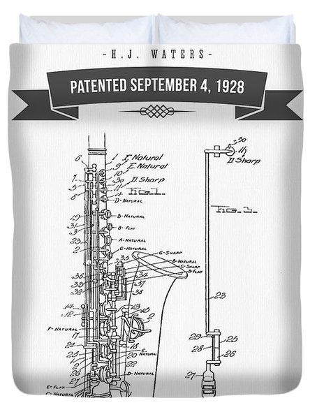 1928 Saxophone Patent Drawing Duvet Cover by Aged Pixel