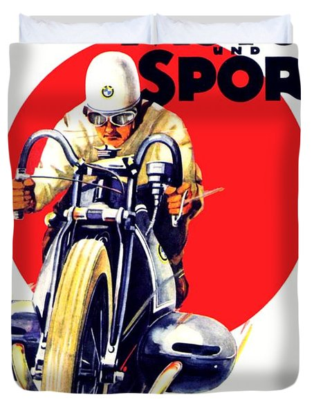 1929 - Bmw Motorcycle Poster - Color Duvet Cover
