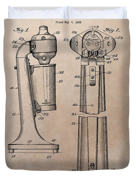 1930 Drink Mixer Patent Duvet Cover by Dan Sproul