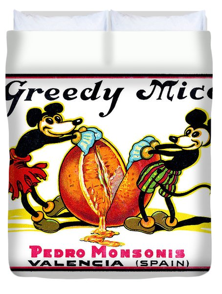 1930 Greedy Mice Crate Label Duvet Cover