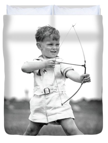 1930s Boy Outdoors Aiming Toy Bow Duvet Cover