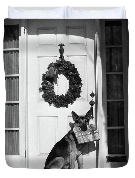 1930s German Shepherd Dog Sitting Front Duvet Cover