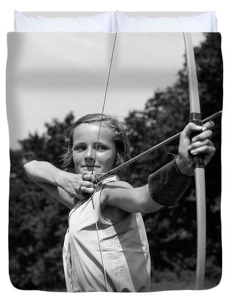 1930s Girl Wearing A Camp Jumper Duvet Cover