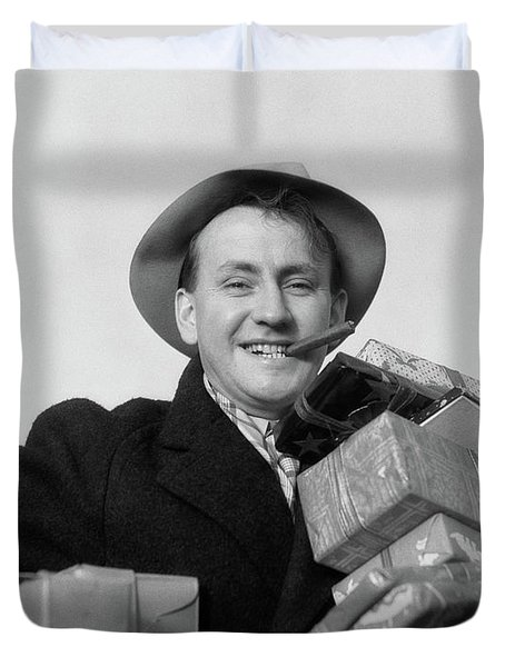 1930s Man Cigar In Mouth Hat Tipped Duvet Cover