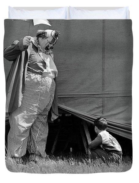 1930s Man Clown Catching Little Boy Duvet Cover