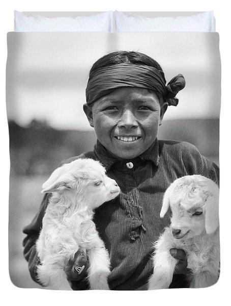 1930s Smiling Native American Navajo Duvet Cover
