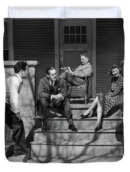 1930s Three Men Courting A Women Duvet Cover