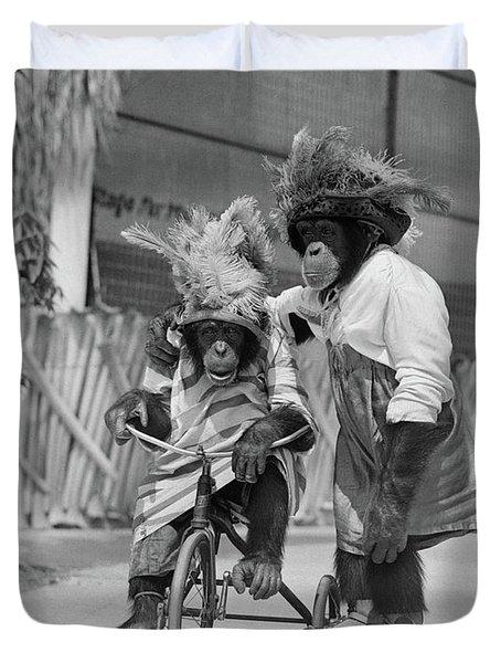 1930s Two Chimpanzees Monkeys Wearing Duvet Cover