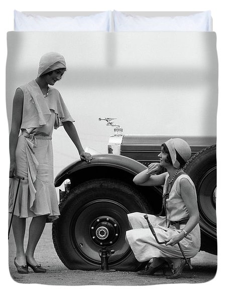 1930s Two Women Confront An Automobile Duvet Cover