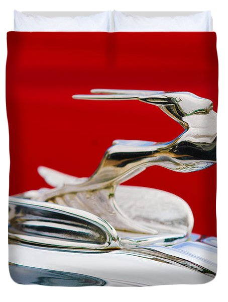 Duvet Cover featuring the photograph 1931 Chrysler Coupe Hood Ornament by Jill Reger