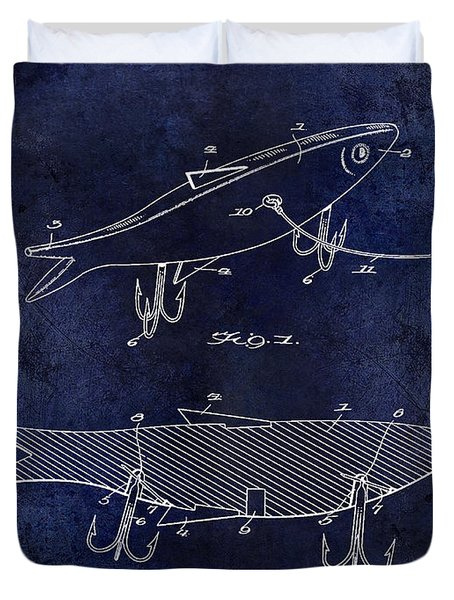 1931 Fish Bait Patent Drawing  Blue Duvet Cover by Jon Neidert