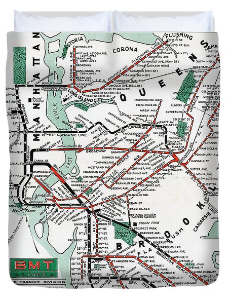 1931 Map Brooklyn Manhattan Transit Duvet Cover
