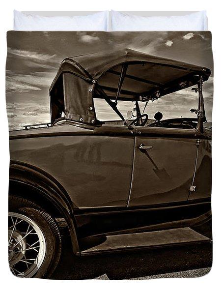 1931 Model T Ford Monochrome Duvet Cover by Steve Harrington