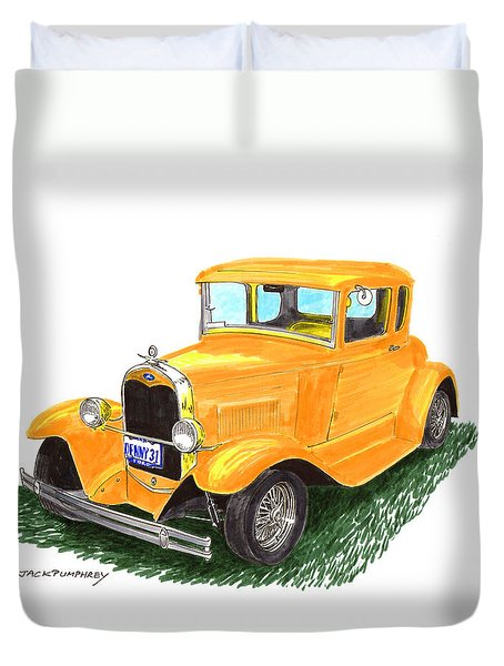 1931 Yellow Ford Coupe Duvet Cover by Jack Pumphrey