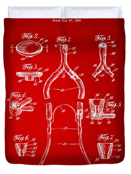 1932 Medical Stethoscope Patent Artwork - Red Duvet Cover