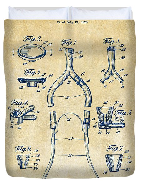 1932 Medical Stethoscope Patent Artwork - Vintage Duvet Cover