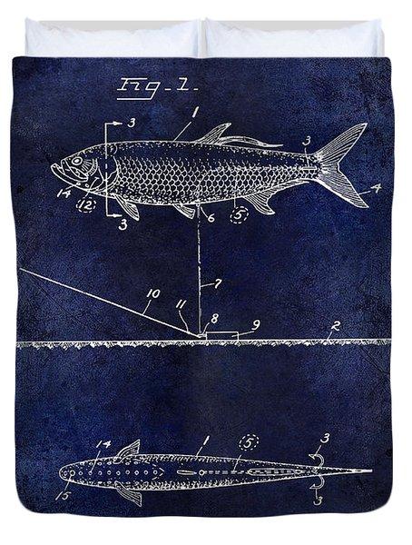 1934 Artificial Fish Lure Patent Drawing Blue Duvet Cover by Jon Neidert