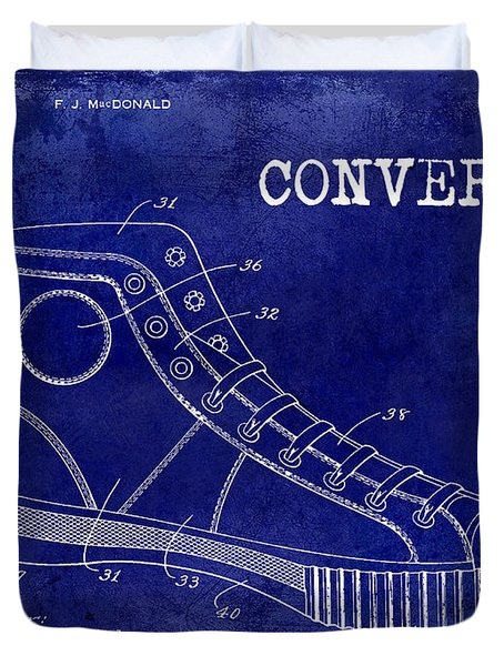 1934 Converse Shoe Patent Drawing Blue Duvet Cover by Jon Neidert