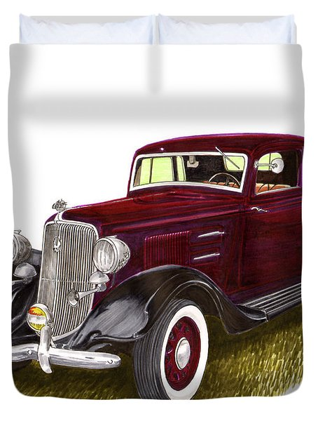 1934 Plymouth P E Coupe Duvet Cover by Jack Pumphrey