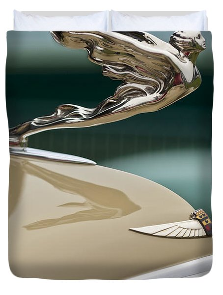 1935 Cadillac Convertible Hood Ornament Duvet Cover by Jill Reger