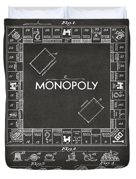 1935 Monopoly Game Board Patent Artwork - Gray Duvet Cover