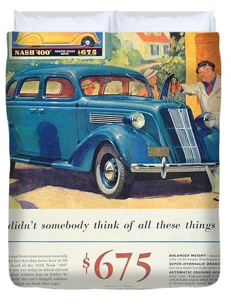 1936 - Nash Sedan Automobile Advertisement - Color Duvet Cover