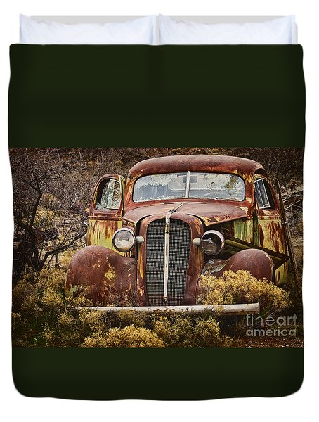 1936 Chevy Coupe With Memories Duvet Cover