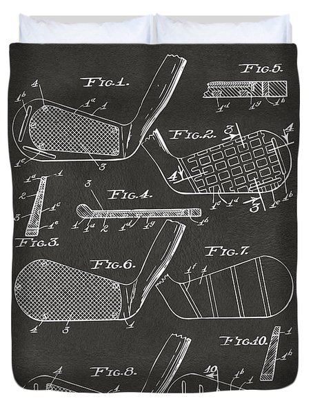 1936 Golf Club Patent Artwork - Gray Duvet Cover