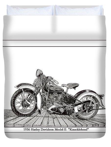 1936 Harley Knucklehead Duvet Cover by Jack Pumphrey