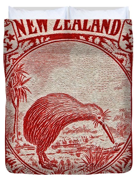 1936 New Zealand Kiwi Stamp Duvet Cover by Bill Owen