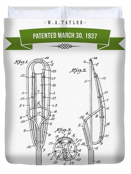 1937 Game Device Patent Drawing - Retro Green Duvet Cover
