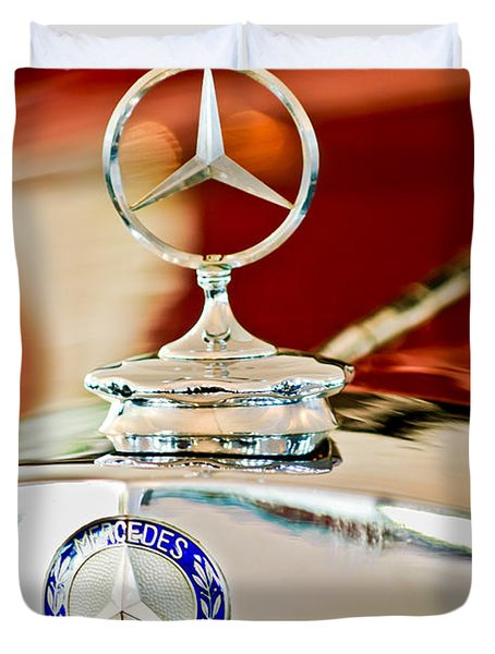 1937 Mercedes-benz Cabriolet Hood Ornament Duvet Cover by Jill Reger