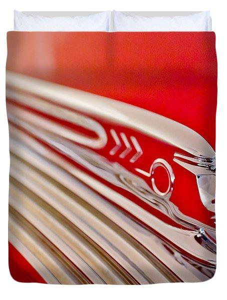 1937 Pontiac Chief Custom Hood Ornament Duvet Cover by Jill Reger