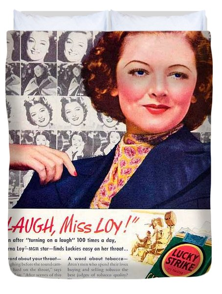 1938 - Lucky Strike Cigarettes Advertising - Myrna Loy - Color Duvet Cover