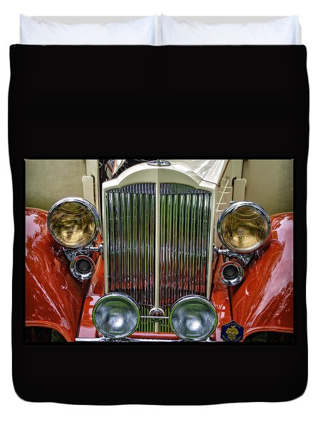 Duvet Cover featuring the photograph 1928 Classic Packard 443 Roadster by Thom Zehrfeld