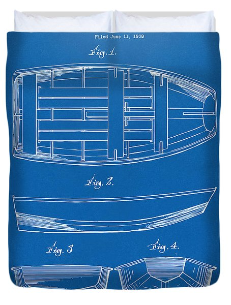 1938 Rowboat Patent Artwork - Blueprint Duvet Cover by Nikki Marie Smith