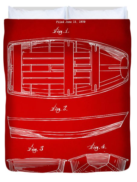 1938 Rowboat Patent Artwork - Red Duvet Cover by Nikki Marie Smith