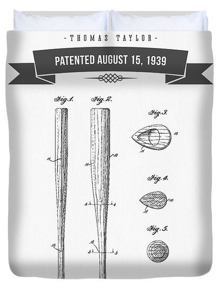 1939 Baseball Bat Patent Drawing Duvet Cover