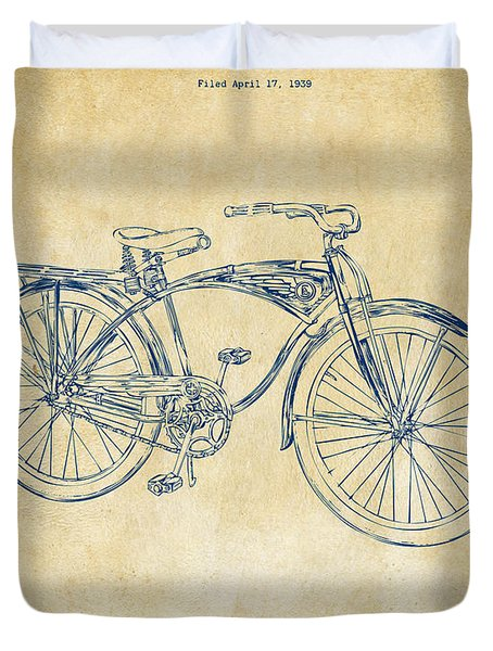 1939 Schwinn Bicycle Patent Artwork Vintage Duvet Cover