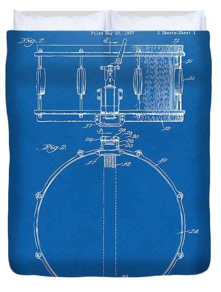 1939 Snare Drum Patent Blueprint Duvet Cover by Nikki Marie Smith