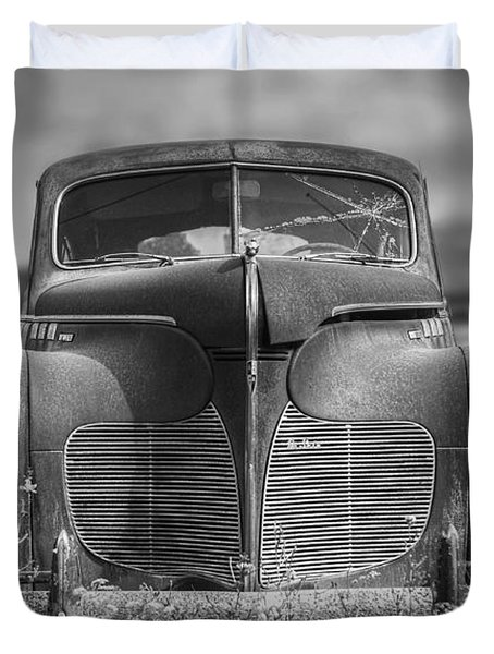 1940 Desoto Deluxe Black And White Duvet Cover