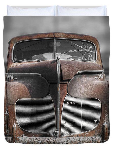 1940 Desoto Deluxe With Spot Color Duvet Cover