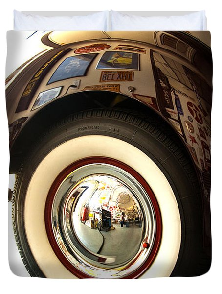 Duvet Cover featuring the photograph Classic Maroon 1940 Ford Rear Fender And Wheel   by Jerry Cowart