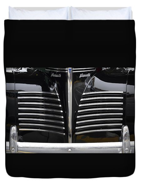 Duvet Cover featuring the photograph 1940 Plymouth  by Nadalyn Larsen