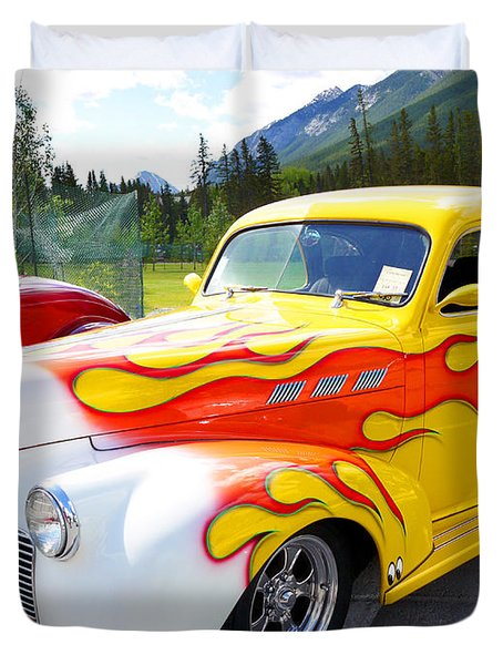 1940 Pontiac Coupe Breathing Fire Duvet Cover