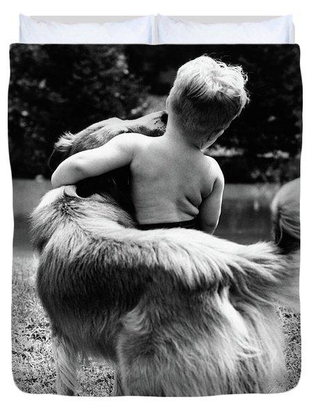 1940s 1950s 1960s Back View Of Boy Duvet Cover