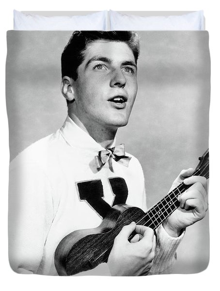 1940s 1950s College Boy Wearing X Duvet Cover