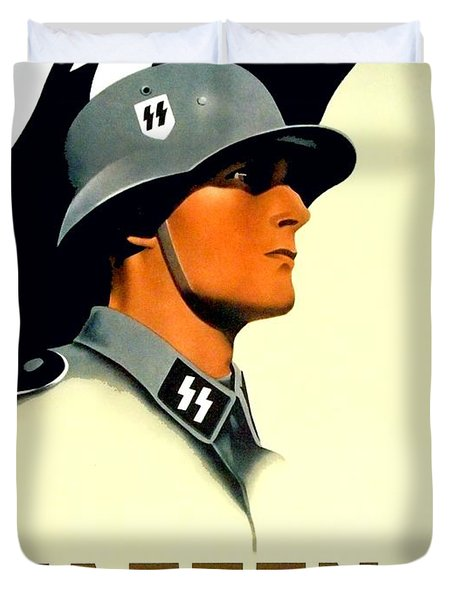 1941 - German Waffen Ss Recruitment Poster - Nazi - Color Duvet Cover